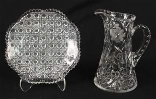 "ABCG 9"" Cut Glass Plate and Cut Glass Pitcher"