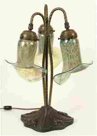 20th C. Bronze Lamp w/ Art Glass Shades