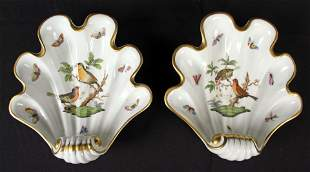 Two Herend Hungry Rothschild Bird Dishes