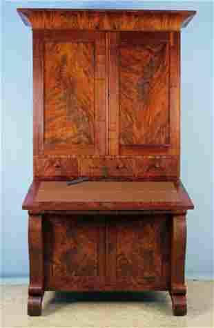 American Empire Crotch Mahogany Secretary Desk