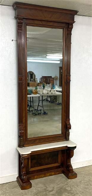 19th C. Mahogany Marble Top Pier Mirror