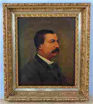 Portrait of 19th C Gentleman Oil on Canvas