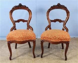 Pair of Walnut Flower Carved 19th C. Side Chairs