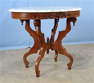 Three Marble Top Mahogany Tables by Victorian