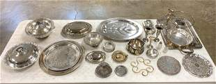 Large Group of Silver Plate, Platters, Trays, Etc.
