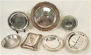 Group of Silver Plate Trays, Meat Dish, Etc.