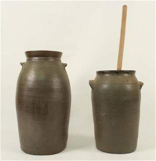 Two 19th Century Tennessee Churns 2 1/2 & 4 Gal.