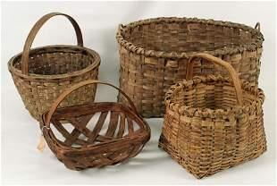 Four Antique Split Oak Baskets
