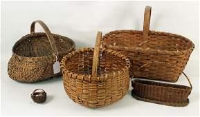 Group of Five Split Oak Baskets