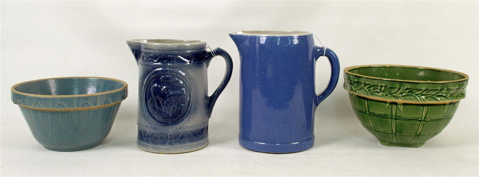 Stoneware Milk Cow Pitcher, Bowls & Pitcher