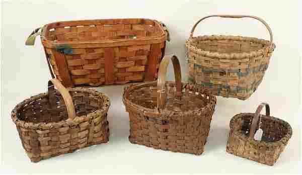 Five Split Oak Baskets