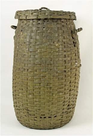 Large Painted Oak Feather or Storage Basket
