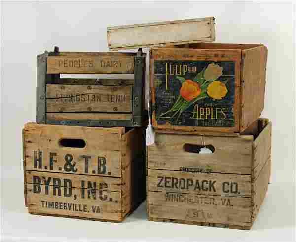 3 Crates, Wooden Box and Metal & Wood Milk Crate