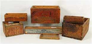 7 Stenciled Wooden Boxes w/ Remington Shell