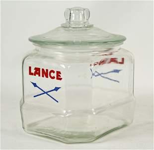 Lance Snack Glass Display Jar 1950's