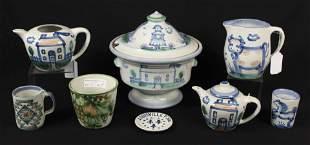 Six. Pcs. M.A. Hadley & Two Louisville Stoneware