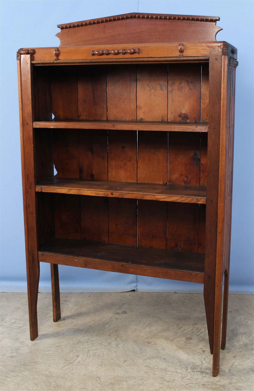 Primitive Walnut Open Bookcase/Cabinet w/ Shelves