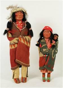 Two 1940s Skookum Indian Dolls
