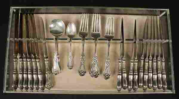 33 Pieces Whiting Violet Pattern Sterling Flatware