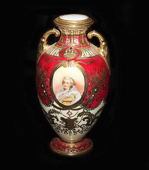 6: Gilt & Jeweled Portrait Nippon Handled Vase