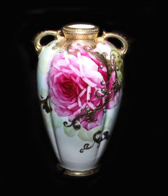 7: Jeweled & Gilt Two-Handled Nippon Vase