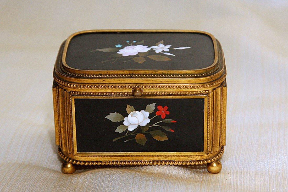16: Pietra Dura Gilt Bronze Mounted Jewelry Box