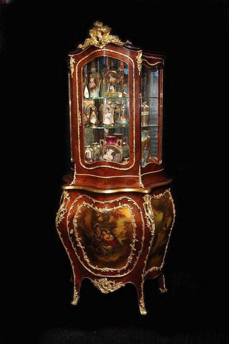 206: Two Part Gilt Bronze Mounted Rosewood Vitrine