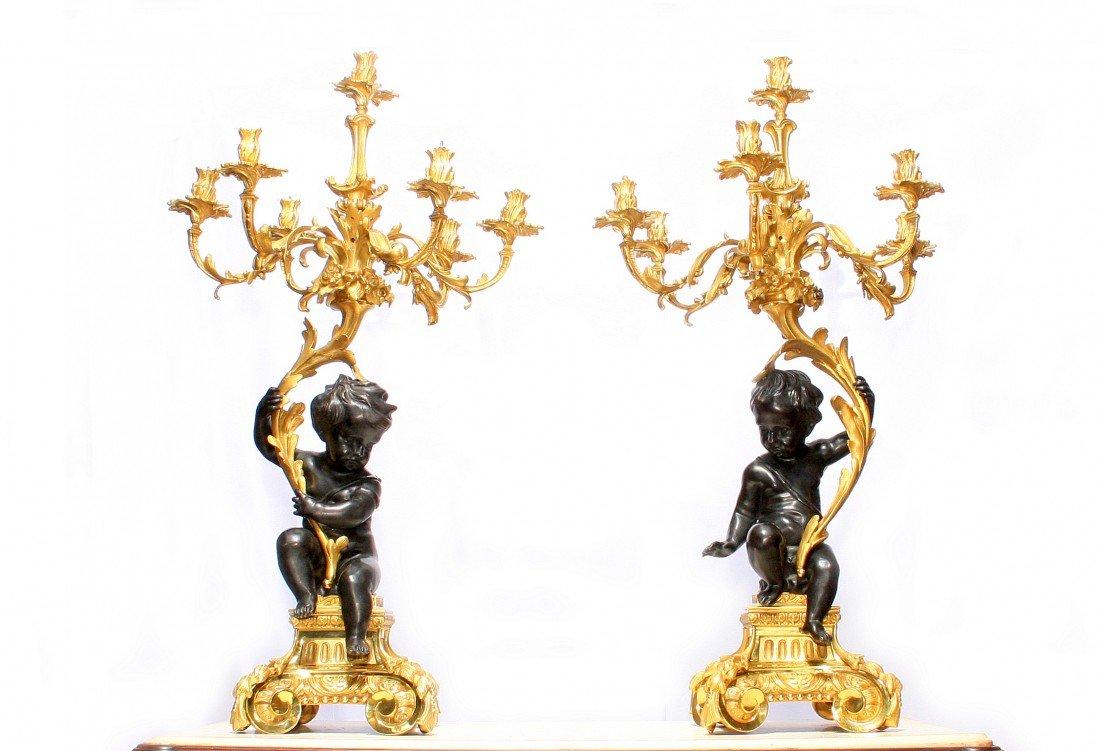 208: Pair of 19th Century Bronze Cherub Candelabras