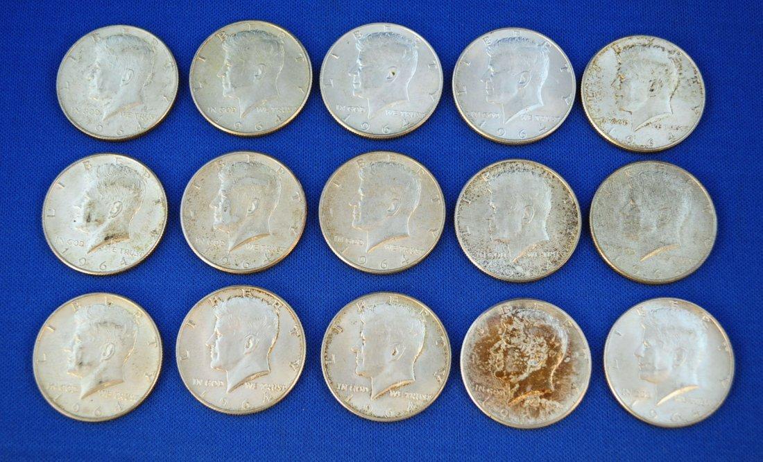 1: 15-1964 Kennedy Silver Half Dollars