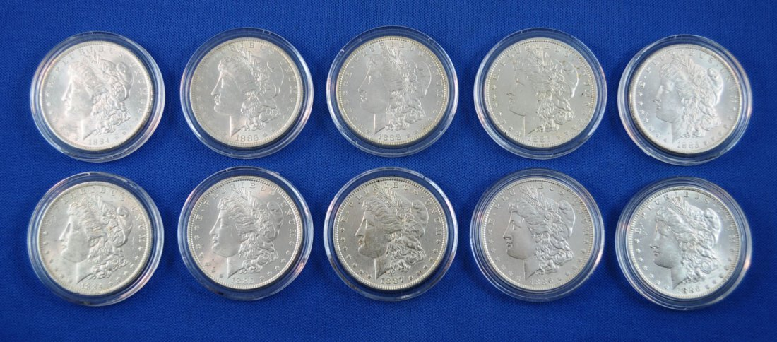 5: 10 Morgan Silver Dollars 1883 - 1888