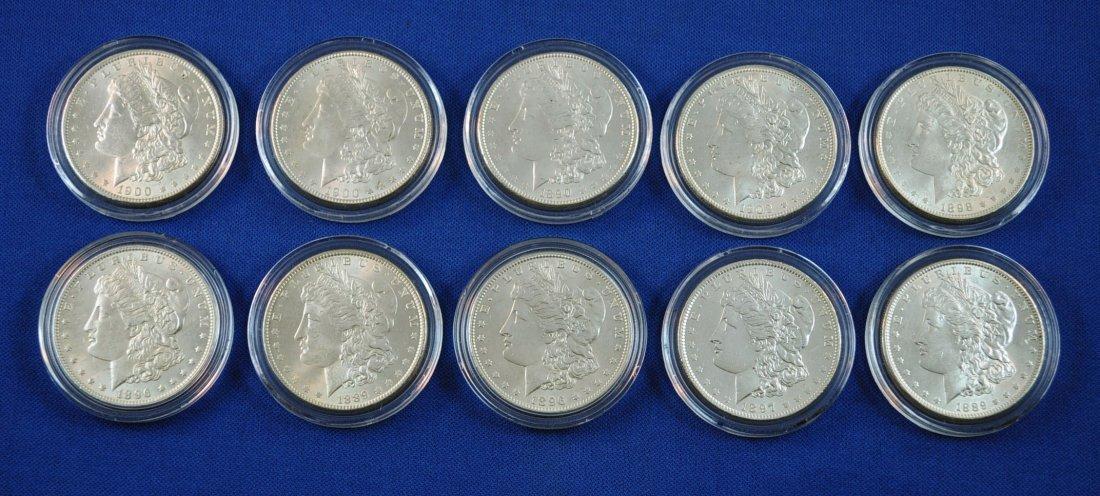6: 10 Morgan Silver Dollars 1889-1902