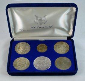 7:  Silver Dollars Coin Set with Morgan, Peace, Eagle