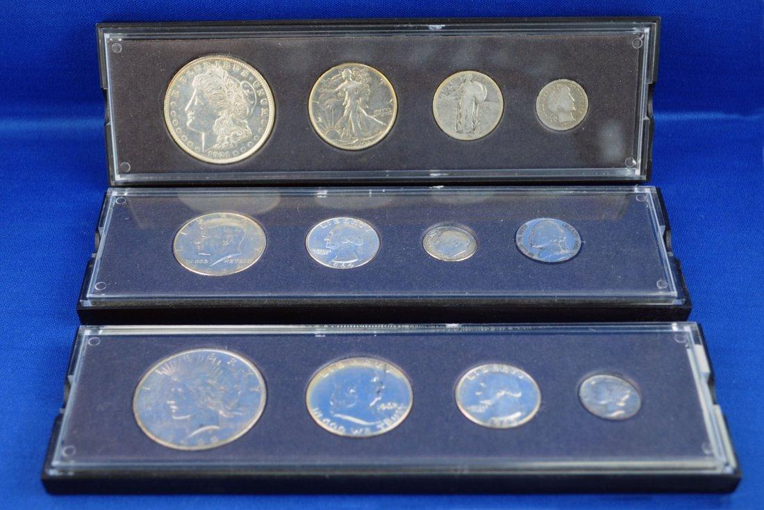 8: 3 U.S. Silver 4 Coin Sets w/ Peace & Morgan $1.00