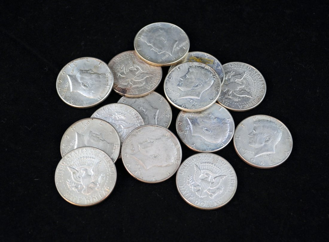 9: 1964 Kennedy Half Dollars 90% Silver Lot of 14