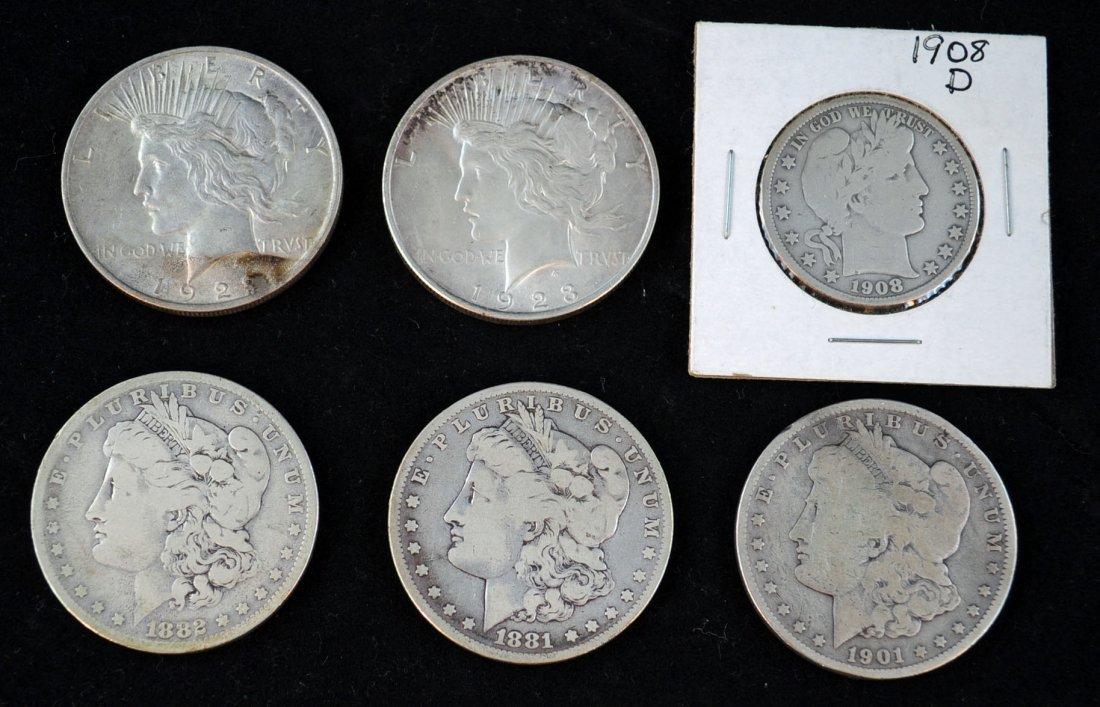 10: 5 Silver Dollars and 1 Silver Half Dollar