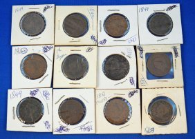 20: 12 Coronet/Braided US large cent coins 1831-1853