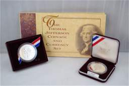 26: 2 Thomas Jefferson Proofs & 1 Currency/Coin Set