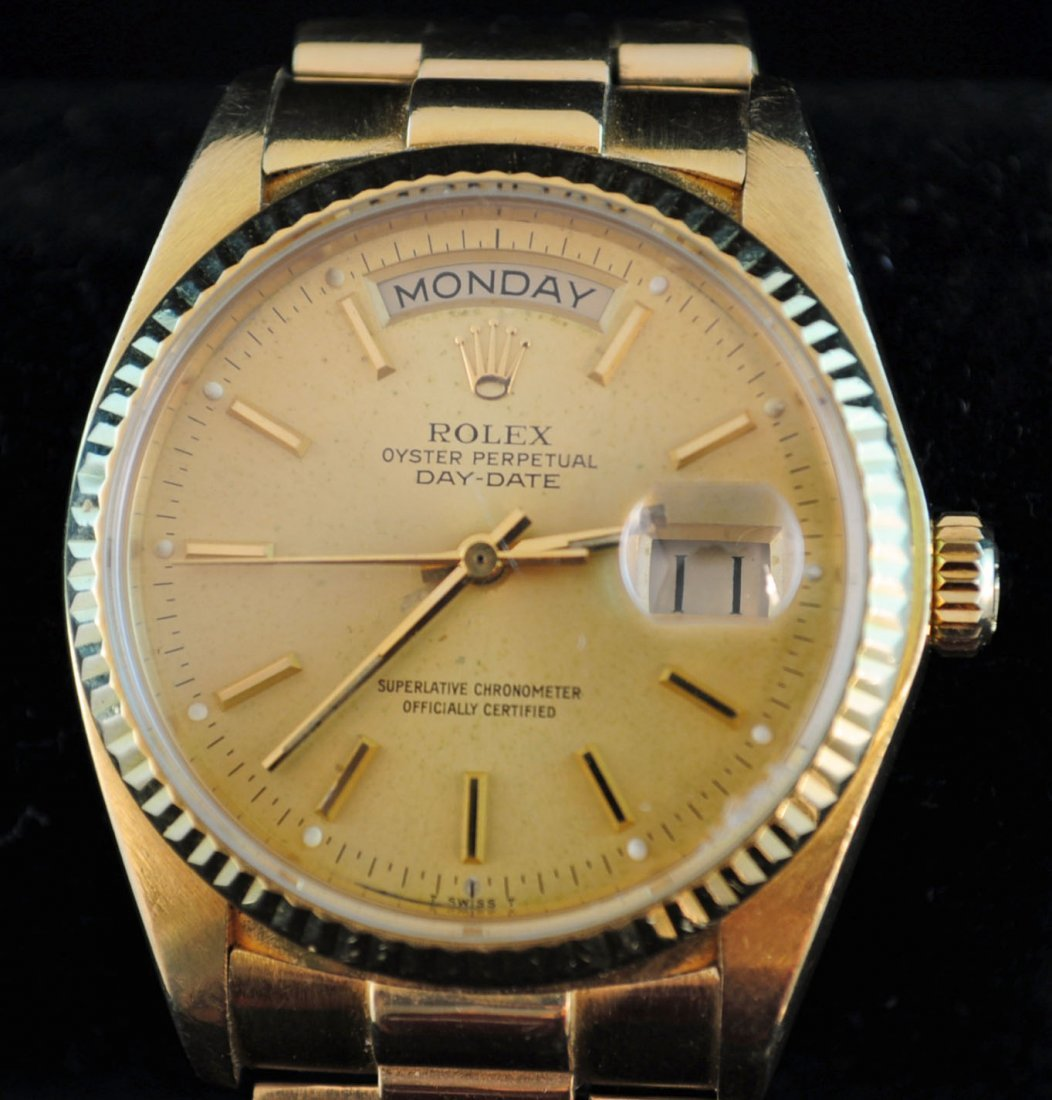 69: Rolex Men's Oyster Perpetual Day Date Watch 18K Gol - 2