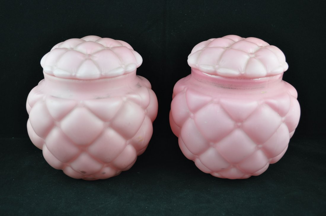 3: Pair of Quilted Pink Satin Glass Biscuit Jars