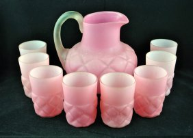 Quilted Pink Satin Glass Pitcher And 8 Tumblers