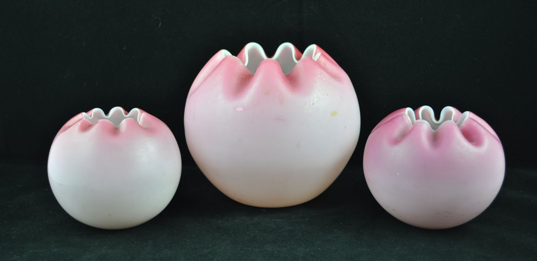 5: Pink Cased Satin Glass Rose Bowls Group