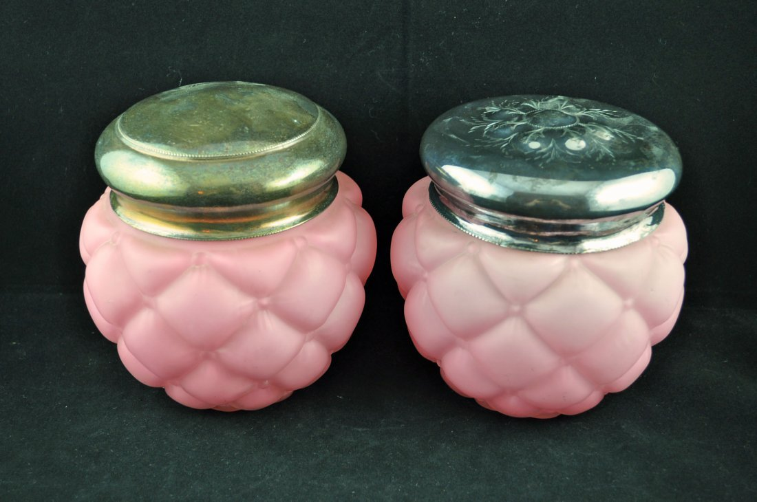 6: Victorian Quilted Pink Satin Glass Biscuit Jars