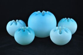 8: Ruffled Blue to White Cased Art Glass Rose Bowls