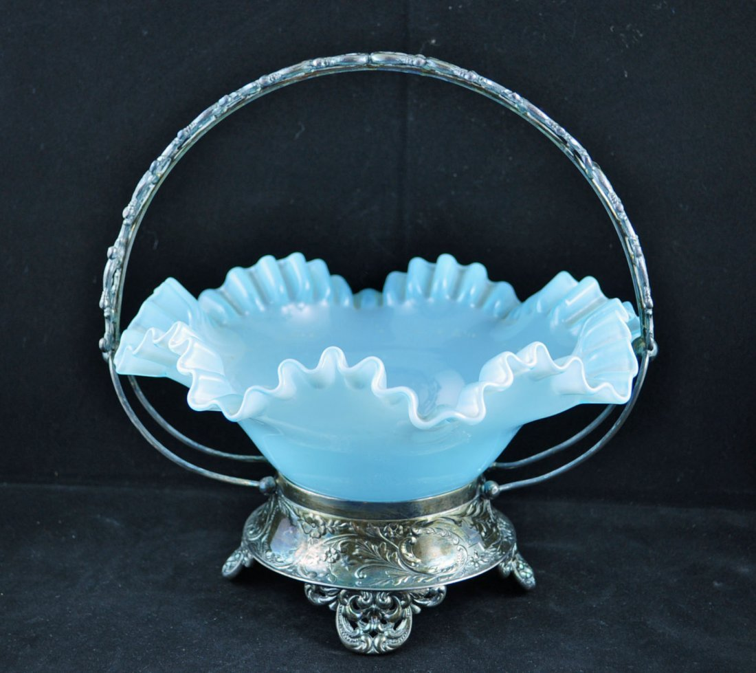 9: Victorian Blue Opalescent Glass Brides Basket