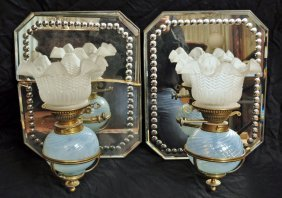 11: Pair of Spherical Blue Opalescent Swirl Oil Lamps