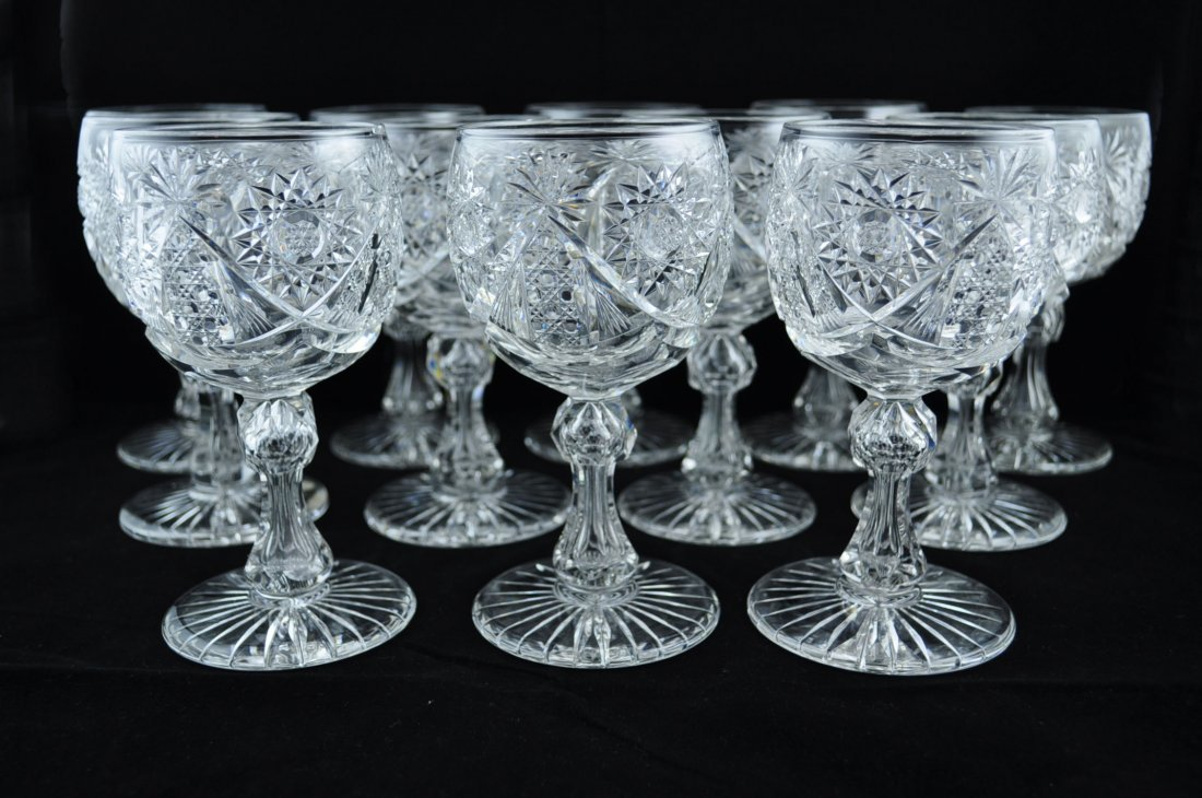 14: Set of 12 American Brilliant Cut Glass Goblets