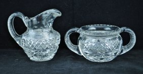 15: HAWKES CUT GLASS SUGAR AND CREAMER