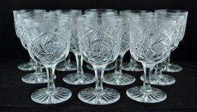 Set Of 12 Brilliant Period Cut Glass Goblets