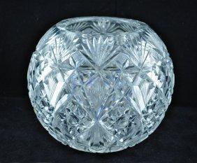 """American Brilliant Period Cut Glass 7"""" Rose Bowl"""