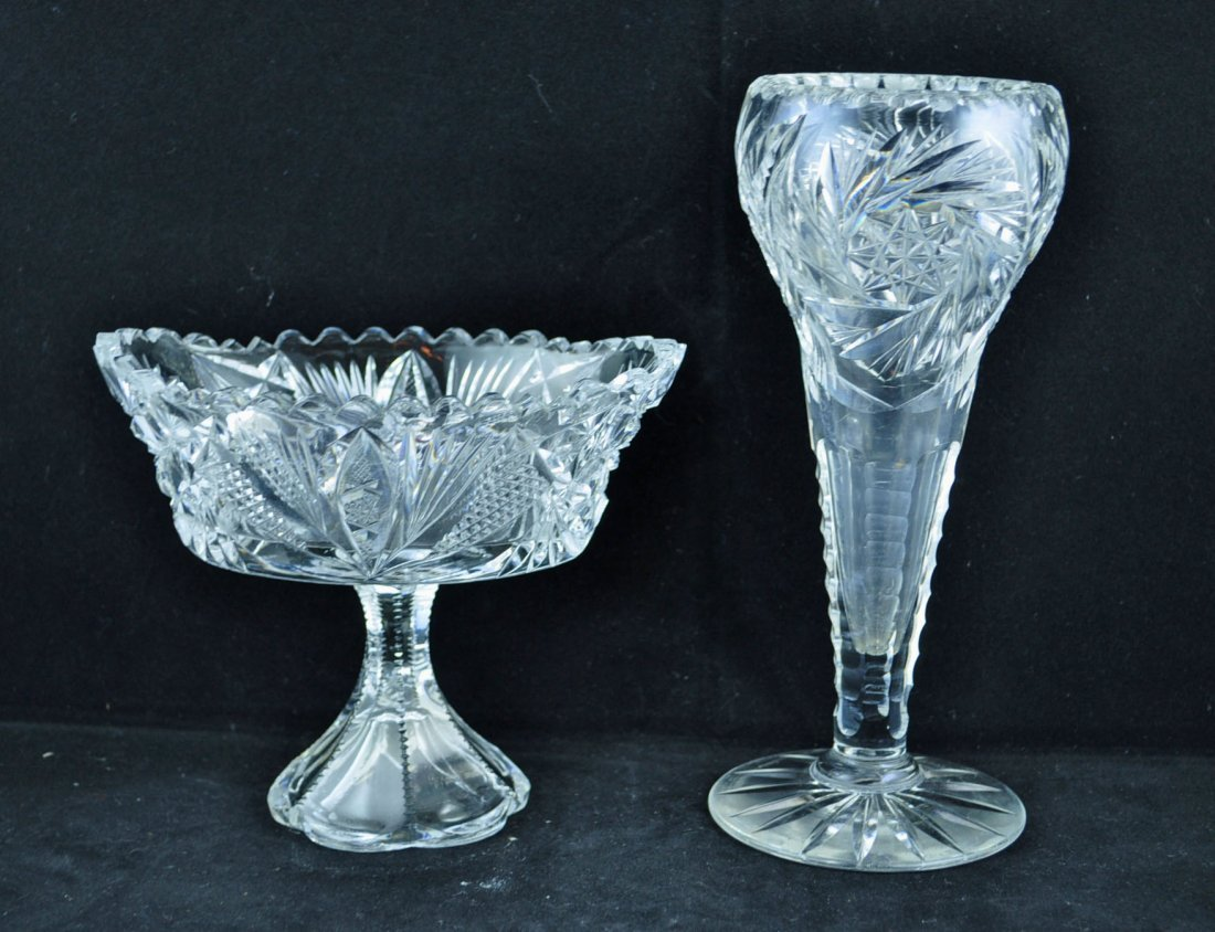 21: Brilliant Period Cut Glass Vase and Compote